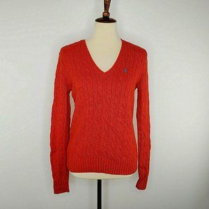 Ralph Lauren Sport Red Cable Knit Sweater L